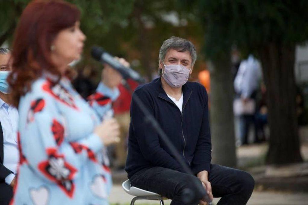 Máximo Kirchner y su madre Cristina Fernández, la vicepresidenta (Télam)