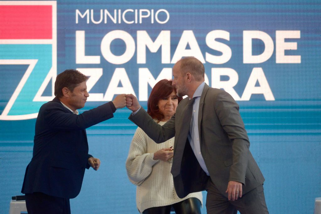 Martín Insaurralde con Axel Kicillof y Cristina Kirchner