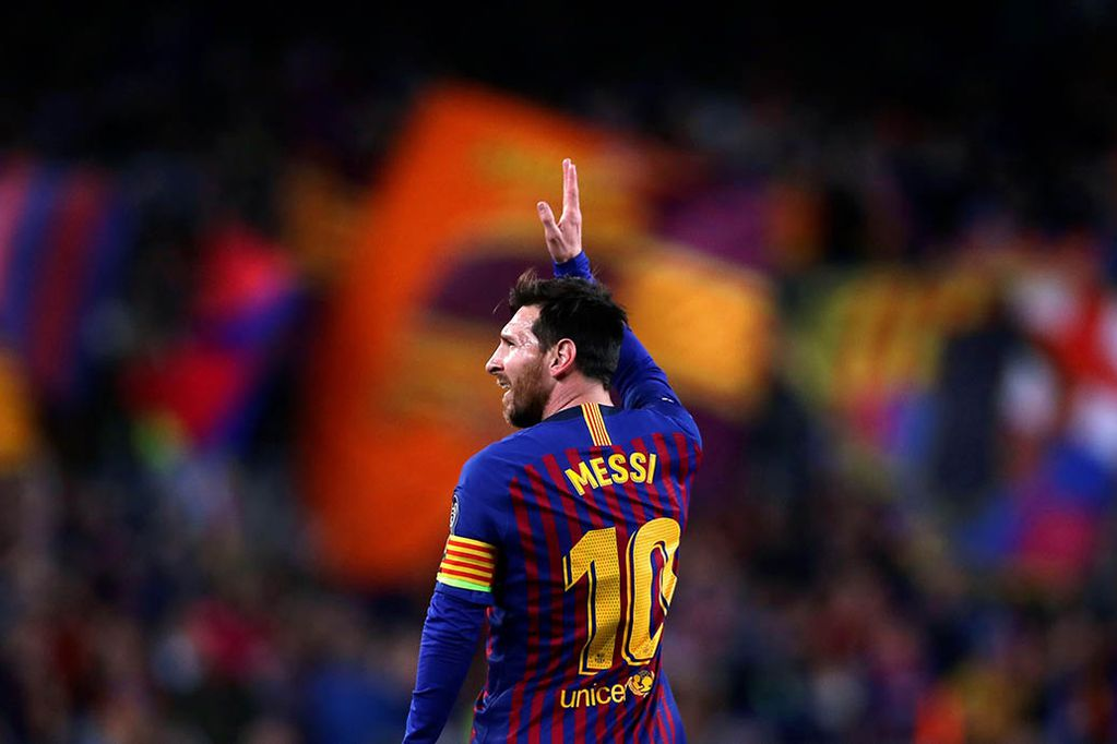 AP   05/08/2021 @ 17:50  FILE - In this April 16, 2019 file photo Barcelona forward Lionel Messi celebrates after scoring his side's second goal during the Champions League quarterfinal, second leg, soccer match between FC Barcelona and Manchester United at the Camp Nou stadium in Barcelona, Spain. (AP Photo/Manu Fernandez, File)