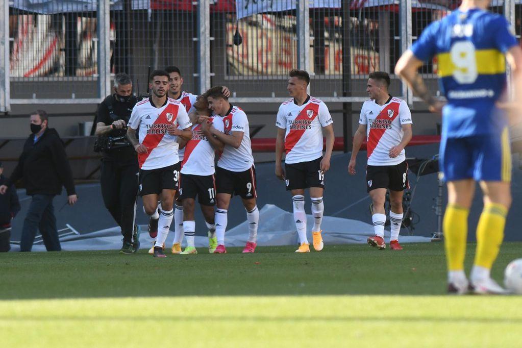 River festeja por el golazo del cordobés Julián Álvarez en el clásico contra Boca. (Gentileza Clarín)