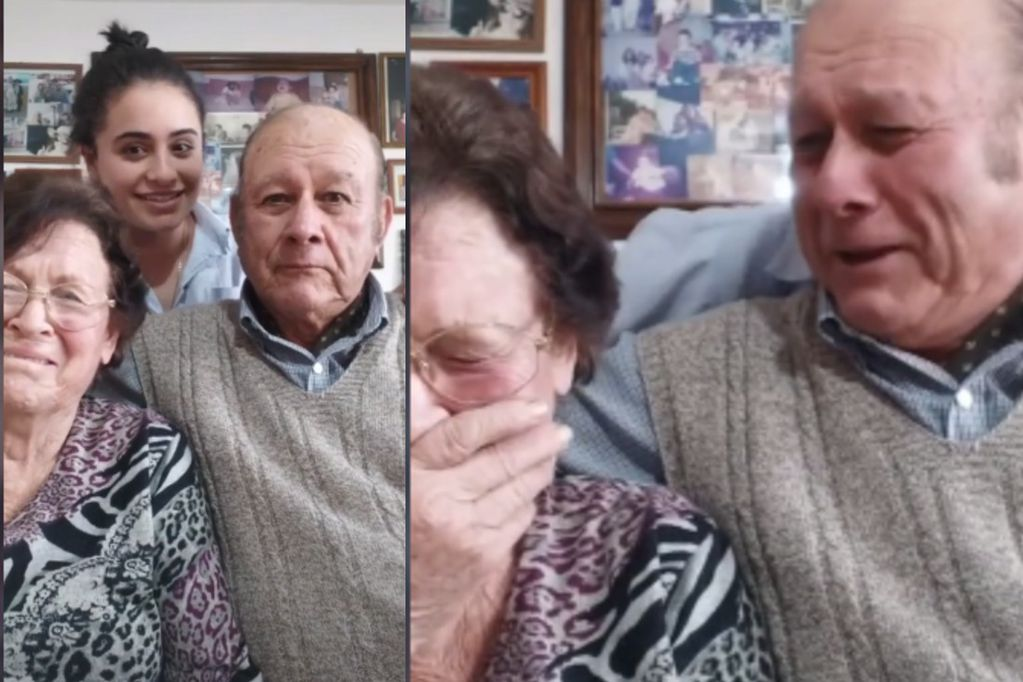 """Para llorar de risa: una joven le pidió a sus abuelos que mientan para que gane una """"beca"""" y ahora son virales"""