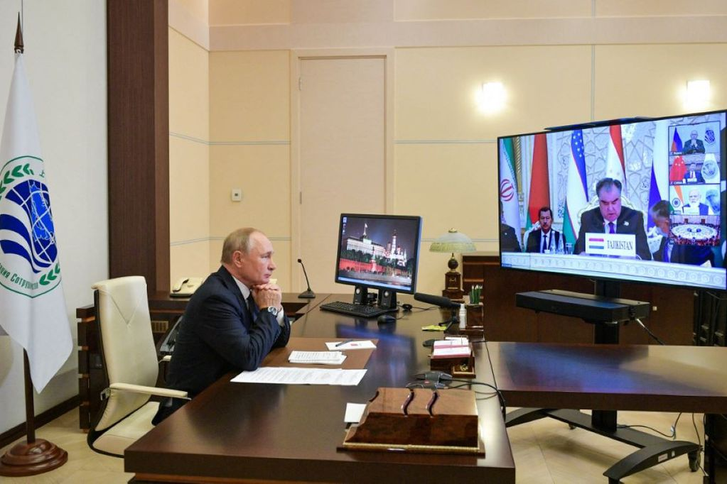 Putin por videoconferencia en la cumbre de la OCS en Dusambé. Gentileza / elperiodico.com.gt