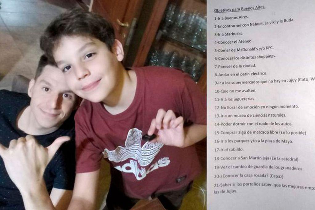 Santino Milisenda junto a su hermano   Nahuel, quien compartió su historia en Twitter.