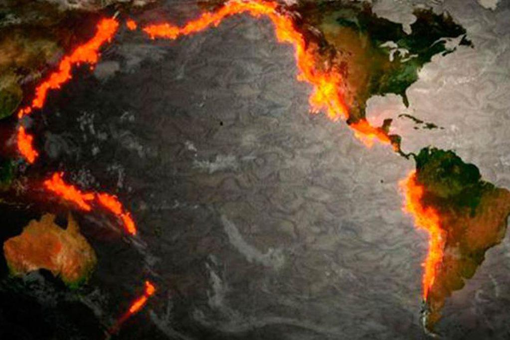 Cinturón de fuego del Pacífico. Foto: Web