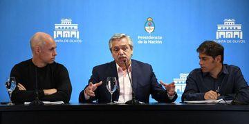 Rodríguez Larreta, Alberto Fernández y Axel Kicillof, en los primeros momentos de la pandemia.