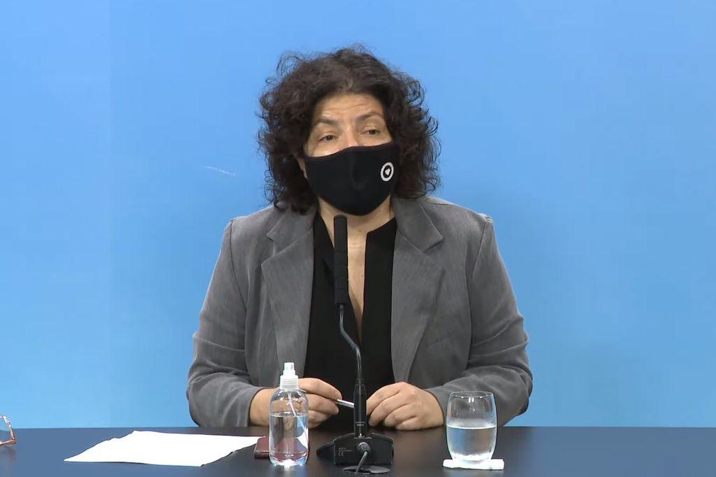 Conferencia de Carla Vizzotti desde Casa Rosada (Captura)