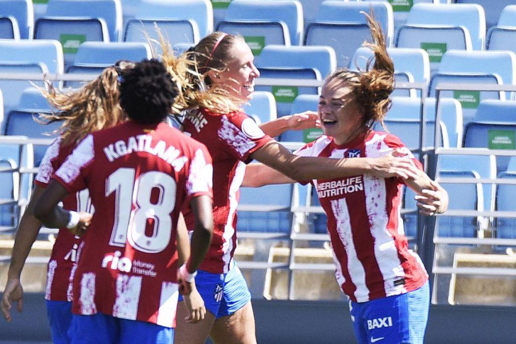 Festejo de la mendocina tras su gol (2-0) para el triunfo del Atlético de Madrid frente al Real.
