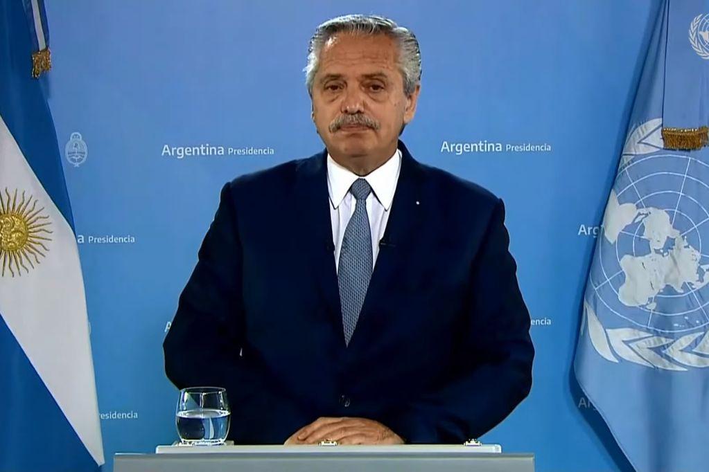 Alberto Fernández dio un discurso ante la Asamblea de la ONU. (Captura de pantalla)