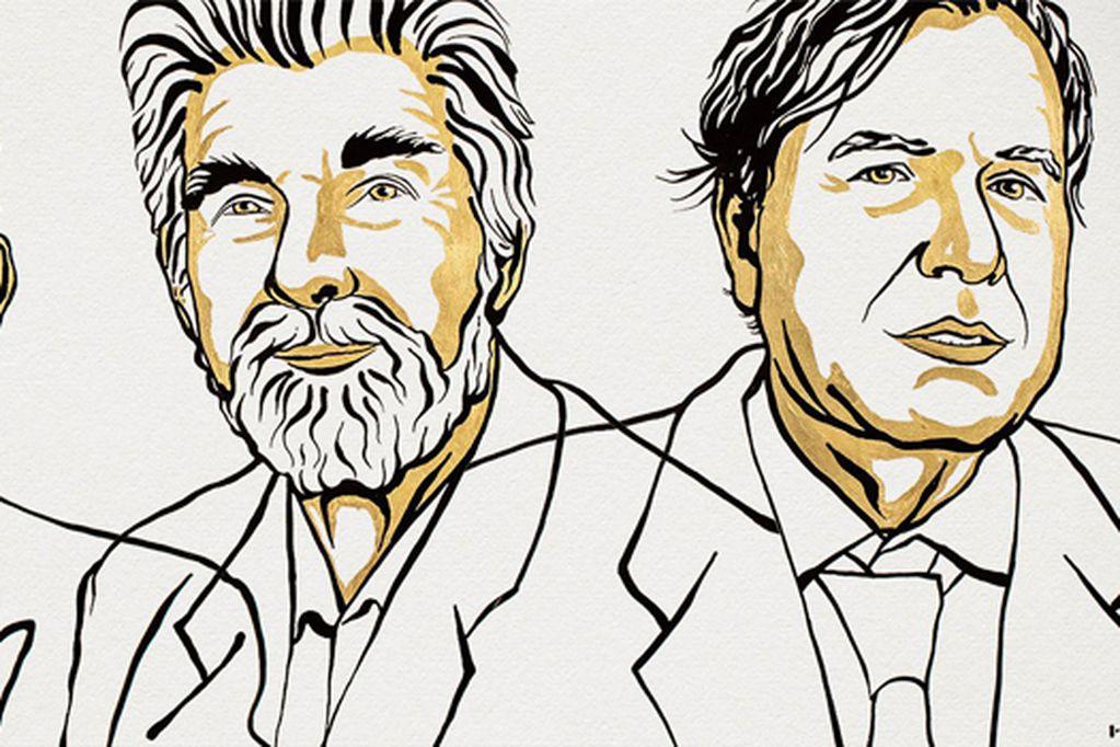 Los retratos de Syukuro Manabe, Klaus Hasselmann y Giorgio Parisi.