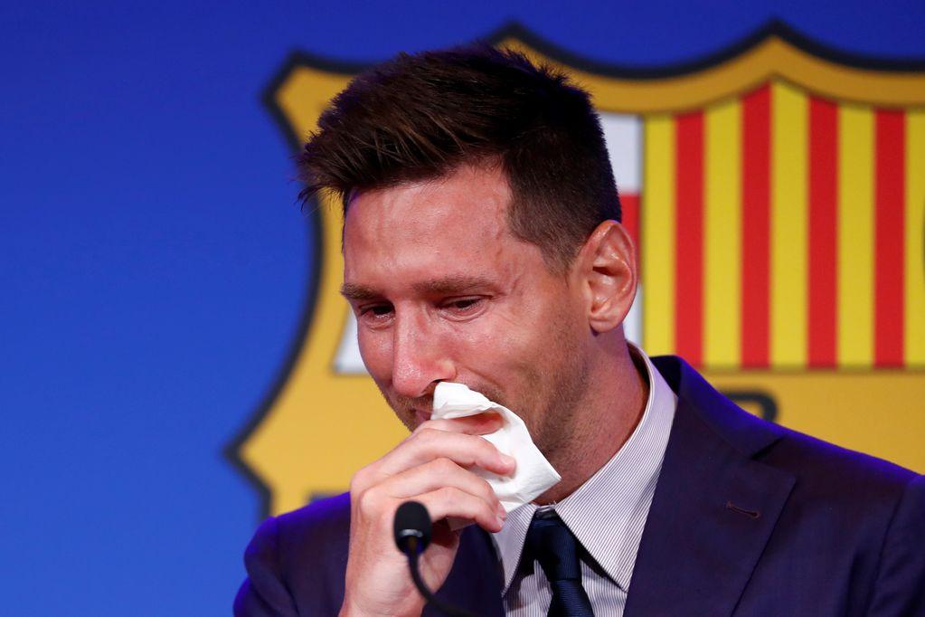 El adiós de Messi al Barcelona./AP
