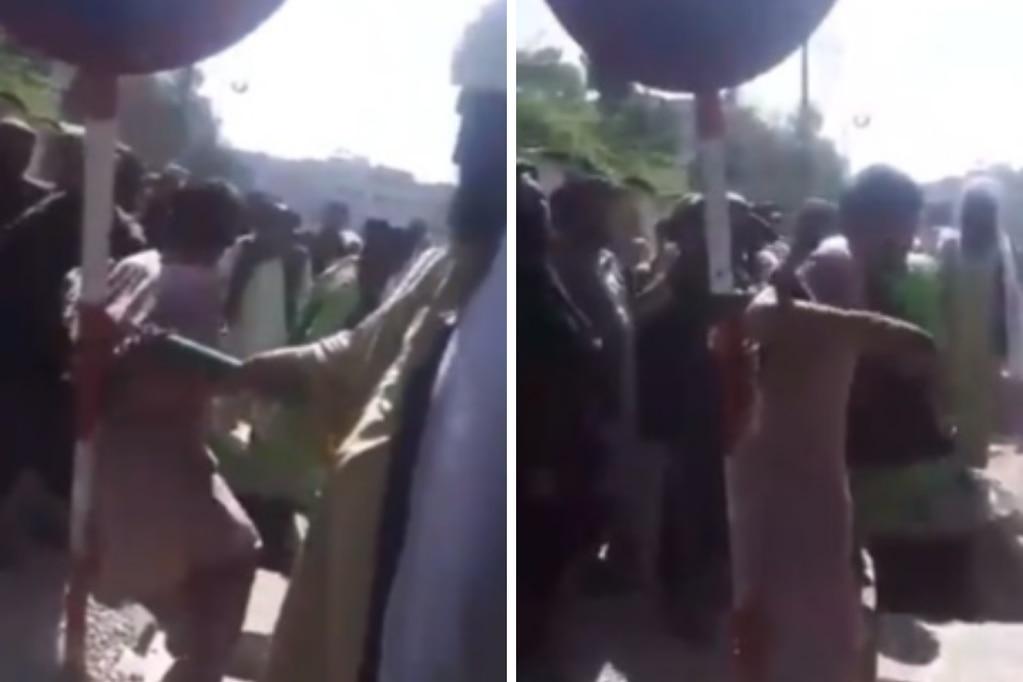 Talibanes azotaron a un presunto ladrón en la vía pública.