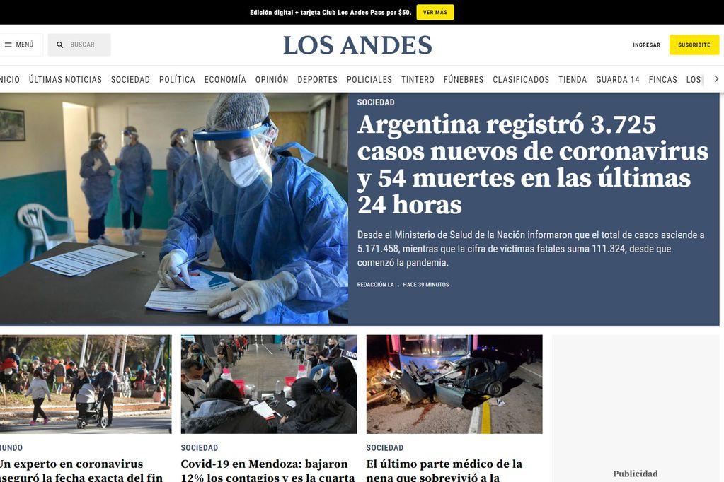 Pantalla principal de Diario Los Andes