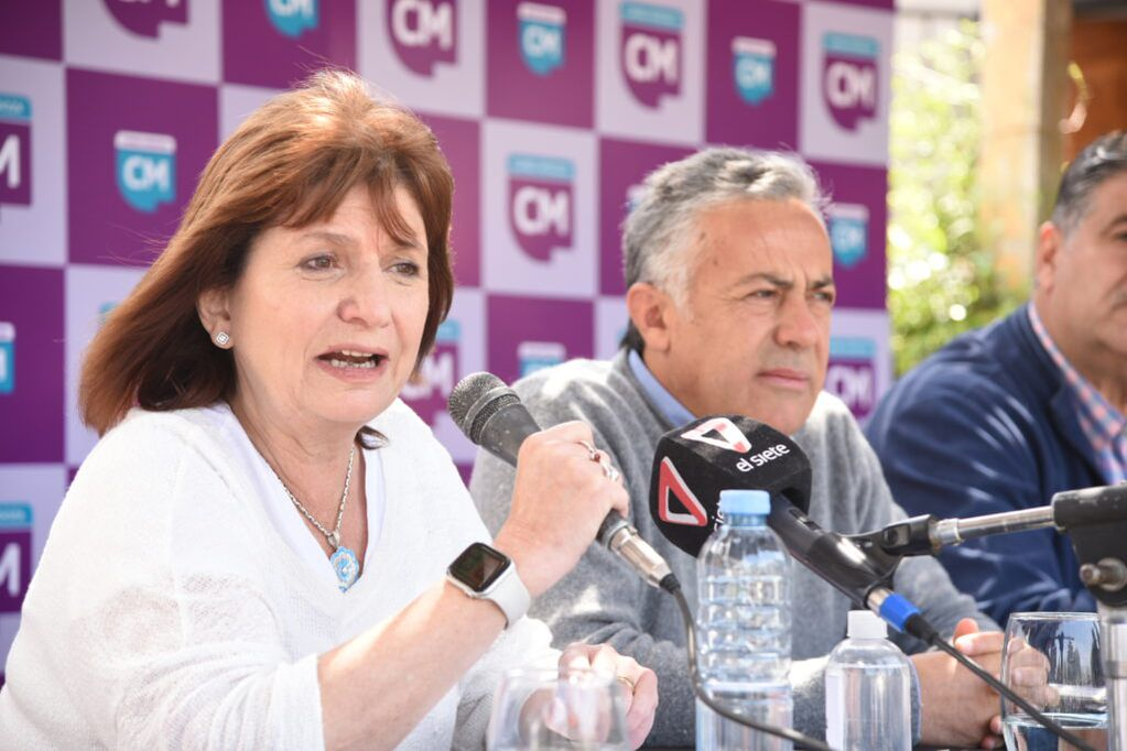 Patricia Bullrich, presidenta del PRO, estuvo en Mendoza y se reunió con dirigentes radicales. En la foto, Alfredo Cornejo y Mario Abed. Prensa Cambia Mendoza.