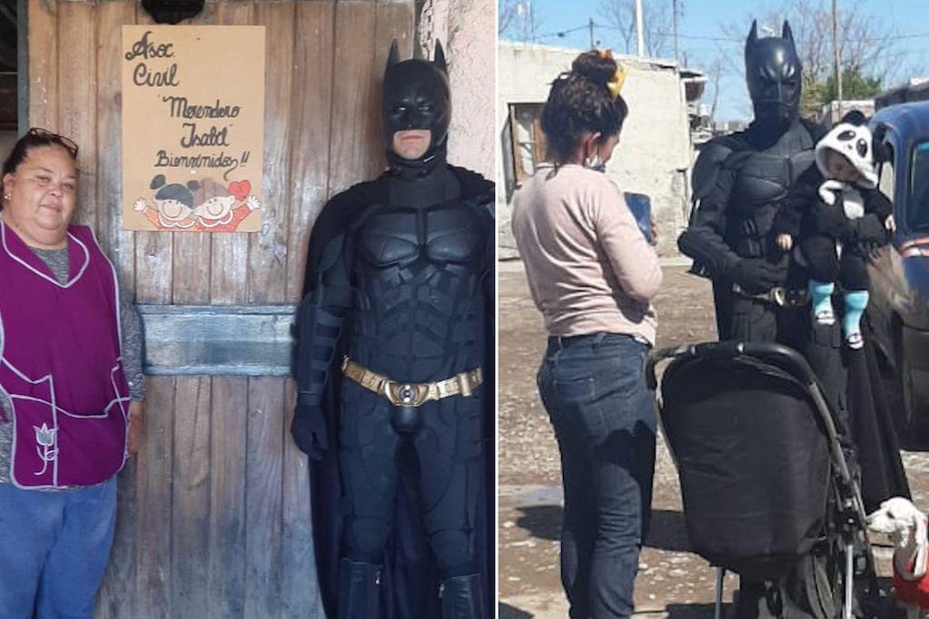 Antes de ser víctima de un asalto, el Batman solidario repartió donaciones en un merendero de Las Heras. Gentileza