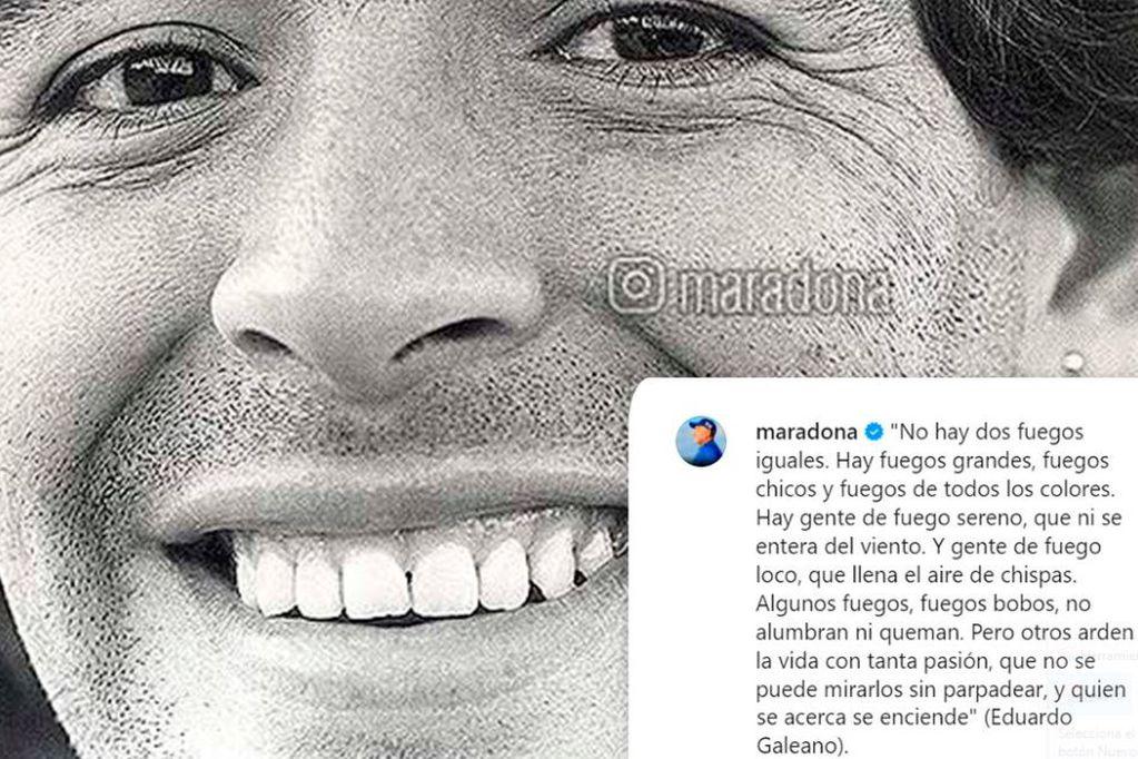 El mensaje de los hijos de Maradona en Instagram.