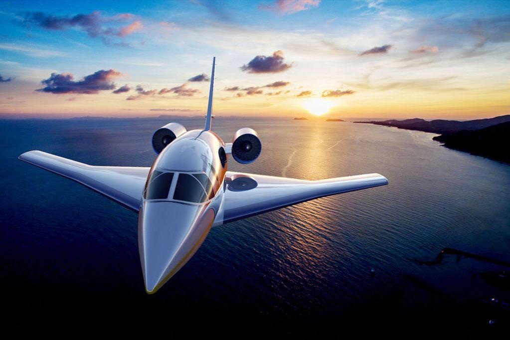 Lujo y velocidad: el nuevo avión supersónico pretende viajar entre Londres y Nueva York en una hora y media.