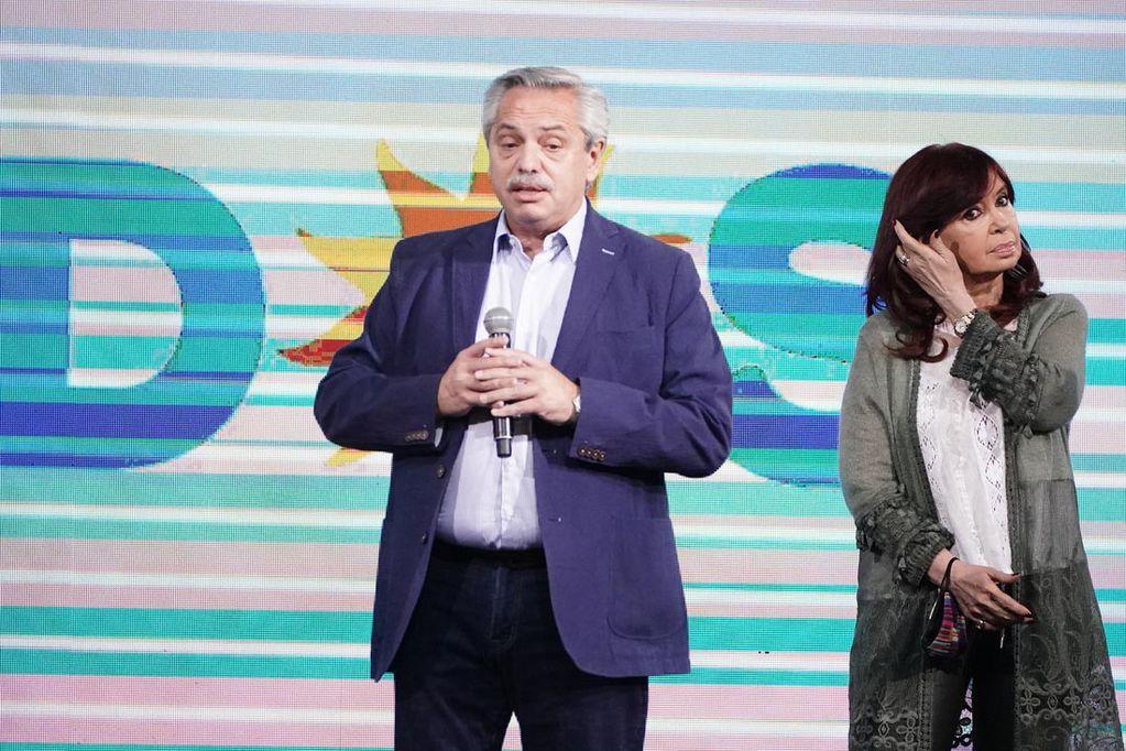 Alberto Fernandez y Cristina Fernandez frente de todos tras la derrota en las urnas en las Paso 2021. (Gentileza Frente de Todos)